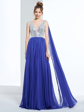 One Shoulder Beading Sequins Long Prom Dress