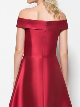 Simple Off the Shoulder Cap Sleeve High Low Prom Dress