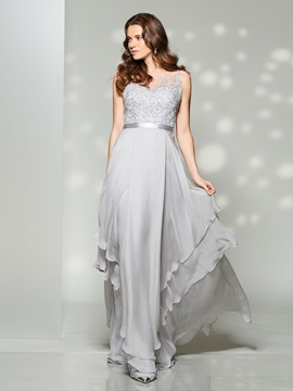 Nice A-Line Scoop Appliques Sashes Floor-Length Prom Dress