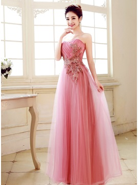 Charming A-Line Sweetheart Appliques Beading Floor-Length Prom Dress