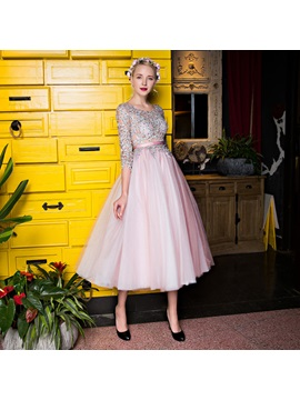 Charming A-Line Bateau 3/4 Length Sleeves Appliques Beading Lace Tea-Length Prom Dress