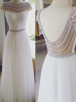 Gorgeous A-Line Bateau Cap Sleeves Pearls Floor-Length Prom Dress