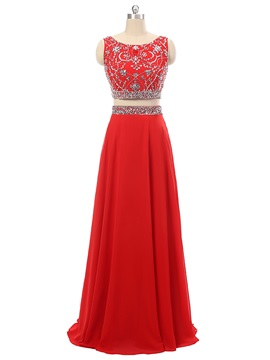 A-Line Scoop Beading Crystal Long Prom Dress