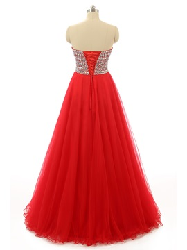 Pretty A-Line Sweetheart Beading Crystal Long Prom Dress