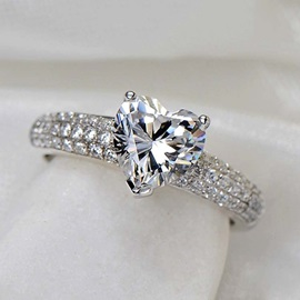 Delicate Heart Shaped 1.2 CT Diamond 925 Sterling Silver Platinum Plated Engagement/Wedding Ring
