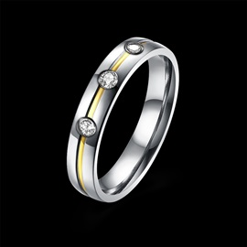 Valentine Gift Imitation Diamante Silver Plated Wedding/Lovers Ring