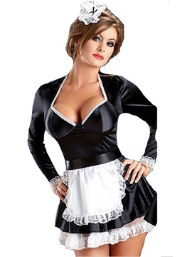 Color Block Long Sleeve Sexy French Maid Costume