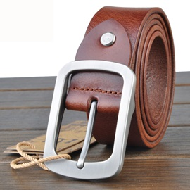 Solid Color Metal Buckle All-Matched Men's Belt