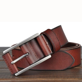 Pin Metal Buckle Leather Men's Casual Belt