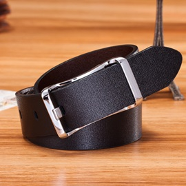 Simple Style Pin Buckle Men's Pu Belt