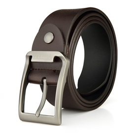 Alloy Rectangle Buckle Men Belt with Letters