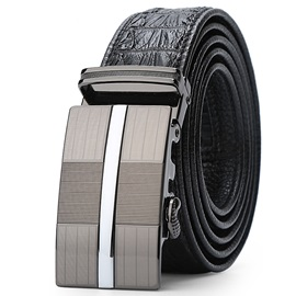 Alligator Pattern Leather Automatic Belt for Men