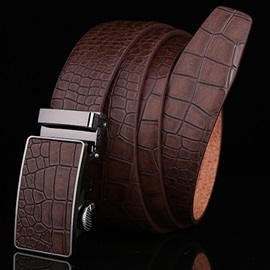 Crocodile Embossed Automatic Buckle Belt