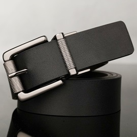 Unique Rotary Pin Buckle Leather Men's Belt