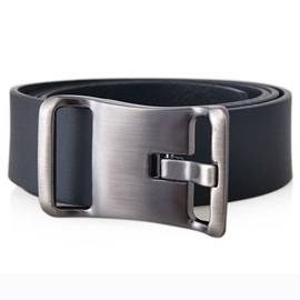 Black Leather Pin Buckle Men's Belt