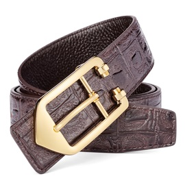 All-Matched Alloy Smooth Buckle Leather Men's Belts
