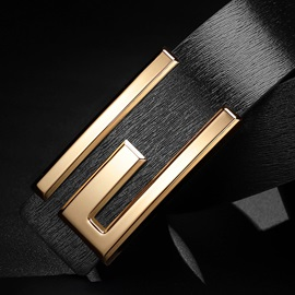 Classical Polishing Alloy Smooth Buckle PU Men's Belts