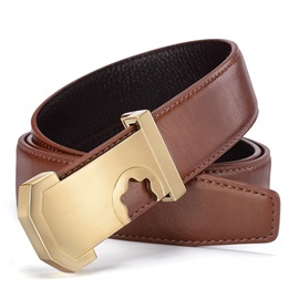Hollow Out Alloy Smooth Buckle Leather Men's Belts
