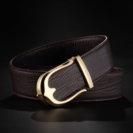 Letters Buckle Alloy Cowhide Smooth Buckle Classical Men's Belts