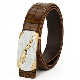 Smooth Buckle PU Leather Men's Belt