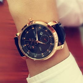 Round Alloy Dial Pin Buckle Men's Watch