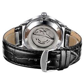 Black Leather Pin Buckle Men's Alloy Watch