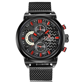 Fashion Three-Eyes Design Men's Quartz Watch