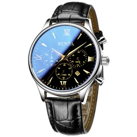 Ultra Thin Leather Band Design Men's Alloy Watch