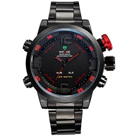 Bilateral Buckle Red Pointer Design Men's Quartz Watch