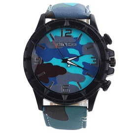 Round Camouflage Surface Quartz Movement Watch