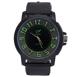 Silicone Band Analog Display Men's Watch