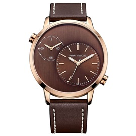 Double Movement Design Leather Band Men's Alloy Watch