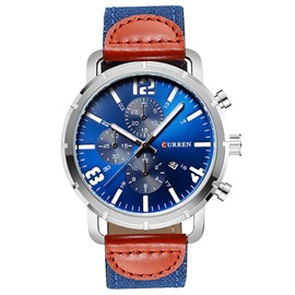 Luminous Color Block Leather Calendar Quartz Men