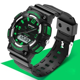 Plastic Sports LED Luminous Display Multifunctional Men's Watches