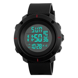Outdoor Multifunctional PU PC EL Luminous Alarm Auto Date 50M Waterproof Digital Watches