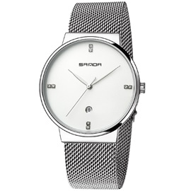 Quartz Smooth Mineral Glass Men's Watch
