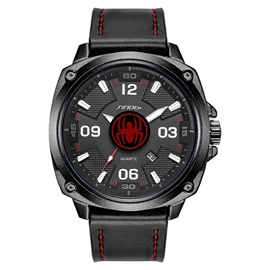 Analog Dial Display Leather Men's Watch with Calendar
