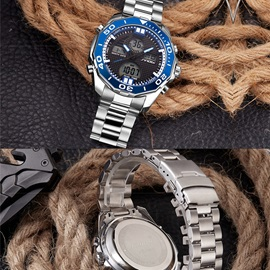 Double Movement Figures Steel Mesh Men's Watch