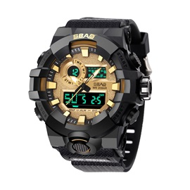 Digital Display Shock Resitstant PU Band Men's Sports Watch