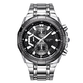 Hardlex Surface Steel Mesh Band Three Chronograph Men's Watch