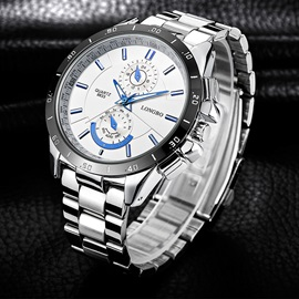 Multiple Time Zone Large Glass Surface Stainless Steel Men's Watch