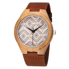 Natural Bamboo Case None-Scale Surface Lovers' Watches