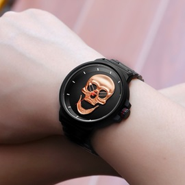 Skull Shape Stainless Steel Waterproof Men's Watch