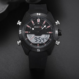 Double Movement Analog-Digital Display Silicone Men's Watch