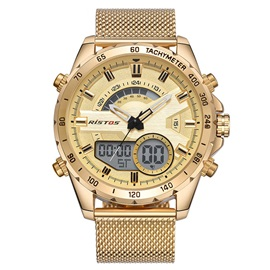 Glass Surface Analog-Digital Dial Stainless Steel Men's Watch