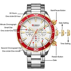 Three Chronograph Multi-Color Stainless Steel Casual Men's Watch