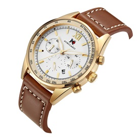 Three Time Zone with Calendar Display PU Business Men's Watch
