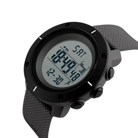 Digital Display Waterproof Alarm PU Sports Men's Watch