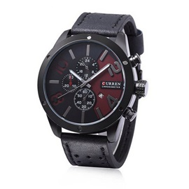 Casual Calendar Display PU Leather Outdoors Men's Watch