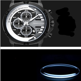 Three Eye Table Analog-Digital Display Business Men's Watch